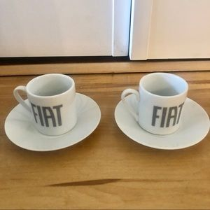 FIAT 2 Espresso Demitasse Cup Saucr Set Coffee Mug